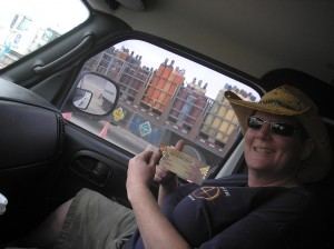 Nacie with her ticket to Burning Man 2010